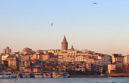 Galata, Galata Tower, Estuary, In The Evening, Sunset