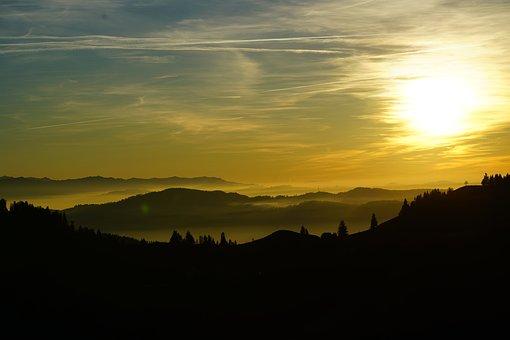 Fog, Nebellandschaft, Sunset, Lüderenalp, Mountains
