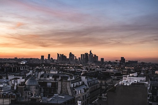 Roofs, View, Sunset, Paris, Defence, Building, Sky