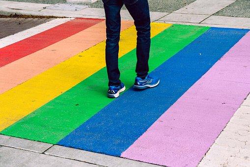 Rainbow, Victoria, Canada, Crosswalk, Transition