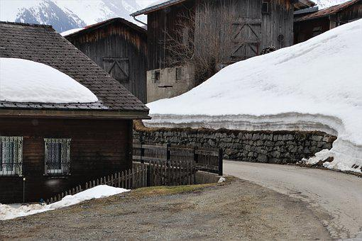 Alpine, Wooden Cottage, Village, The Roof Of The