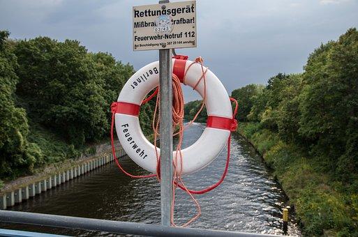 Lifebelt, Berlin, Bridge, Channel, Water, Help, Rescue
