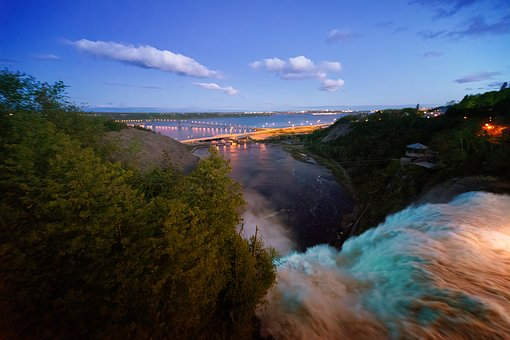 Waterfall, Quebec, Landscape, Water, Canada, Color