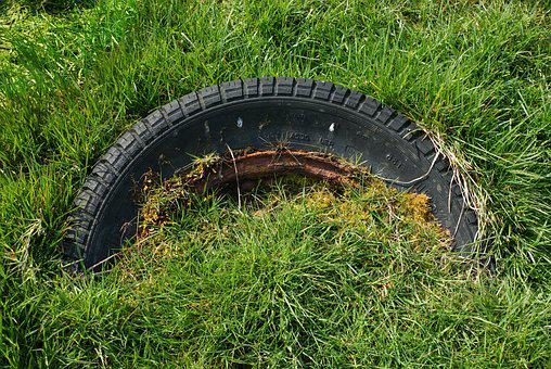 Tyre, Tire, Old, Grass, Wheel, Abandoned, Dumped, Rust