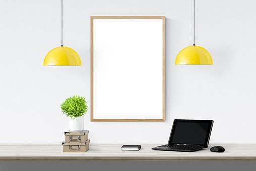 Poster, Frame, Lamp, Laptop, Box, Book