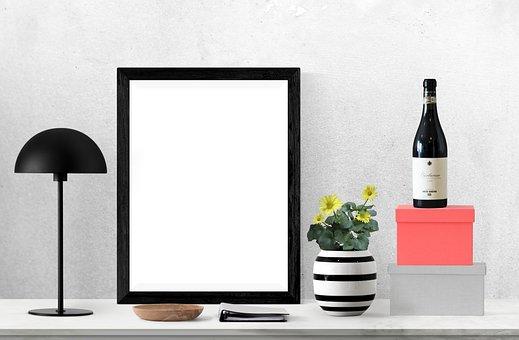Poster, Frame, Bottle, Lamp, Box, Plant