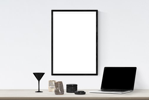Poster, Frame, Plant, Laptop, Book, Bowl