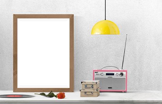 Poster, Frame, Radio, Lamp, Box, Flower