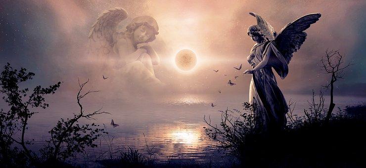 Fantasy, Angel, Light, Nature, Lake, Water, Landscape