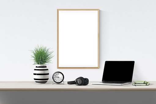 Poster, Frame, Plant, Laptop, Book, Clock, Headphone