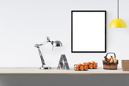 Poster, Frame, Lamp, Fruits, Basket