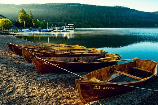 Lake, Landscape, Sunrise, Holiday, Boat, Nature