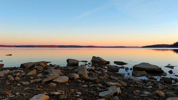 Water, Lake, Sunset, Rocks