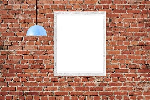 Poster, Frame, Wall, Lamp, Brick