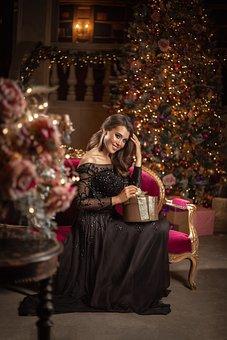 Girl, Gift, Holiday, Christmas, Ornament, Model, Love