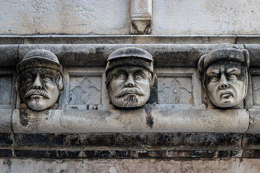 Sculpture, Faces, Masonry, Architecture, Facade