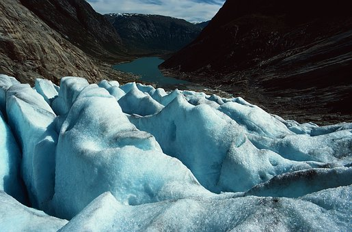 Glacier, Mountain, Landscape, Cold, Water, Norway, Ice