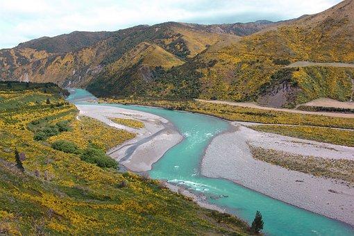 New Zeeland, Glacier Water, Mountains, Landscape