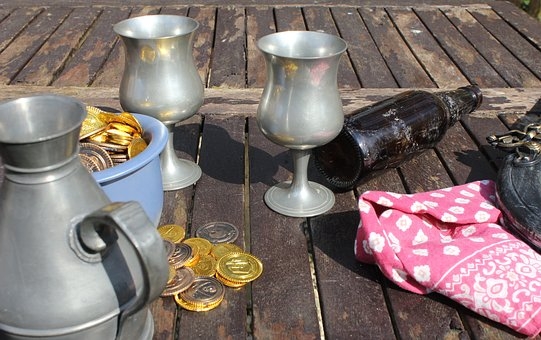 Pewter Goblet, Flagon, Beer, Drink, Bottle, Old, Pirate