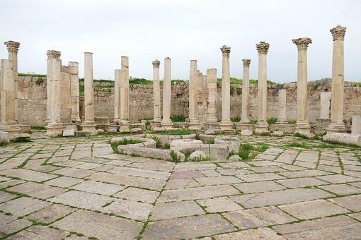 Jordan, Jerash, Gerasa, Ruin, Antiquity, Pillar