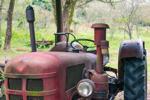 Tractor, Red, Vehicle, Transport, Retro, Farm