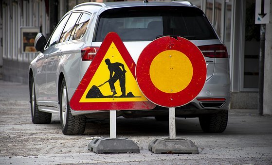 Road Sign, Road Construction, Car, Road Marking
