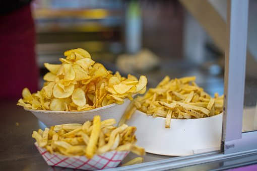 Potato Chips, French Fries, Fried, Food, Snack, Chips