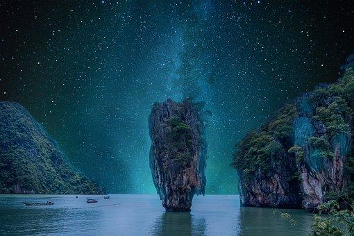 Landscape, Night, Sky, Star, Rocks, Sea, Starry