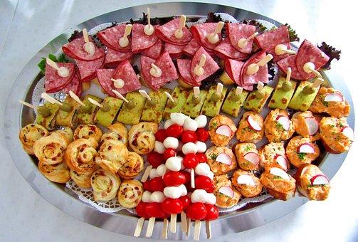 Chunks, Plate, Finger Food, Tomatoes, Crepes, Sausage