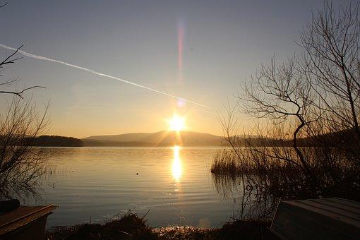 Nature, Sunset, Water, Lipno, South Bohemia