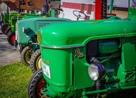 Tractor, Bulldog, Oldtimer, Green, Agriculture