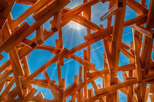 Wood, Scaffold, Construction, Backlighting, Sunshine