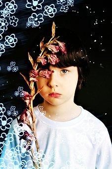 Boy, Flower, Baby, Collage, Portrait, Person, Guy