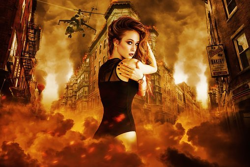 Fantasy, Fire, Smoke, Building, Street, Action, Flames