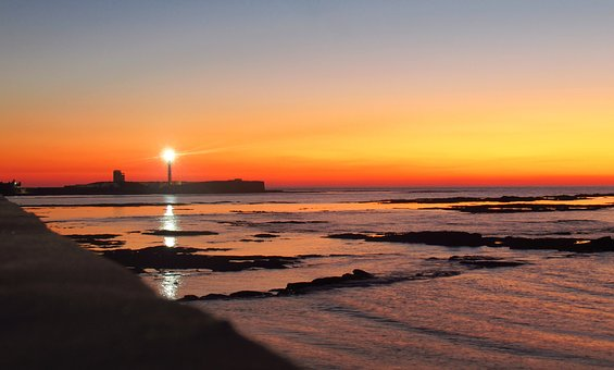 Cadiz, Sunset, Beach, Lighthouse, Andalusia, Water