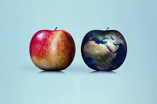 Apple, Earth, Globe, Comparison, Nature, Renewable