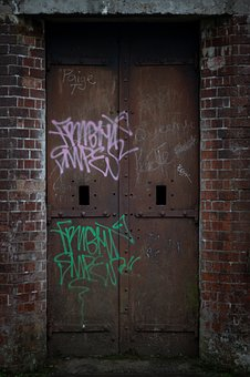 Door, Derelict, Abandoned, Graffiti, Prison, Doorway