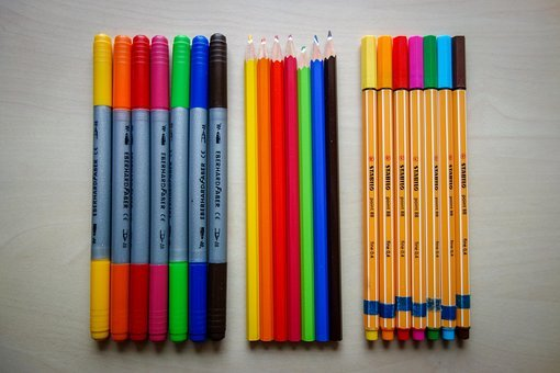 Pens, Colored Pencils, Felt Tip Pens, Wooden Pegs