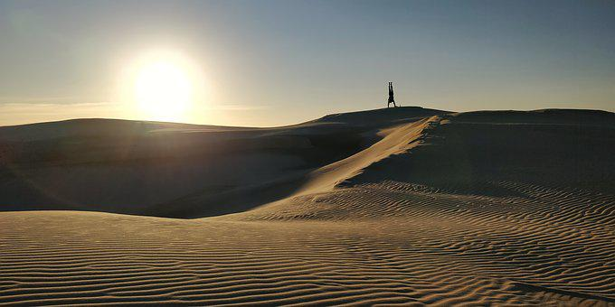 Handstand, Sun, Acrobatics, Coast, Sand, Dunes, Nature