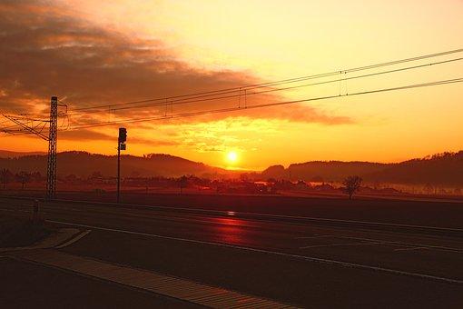 Sunrise, Path, Road, Track, Morning, Landscape