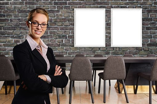 Businesswoman, Office, Meeting, Mock-up, Mockup