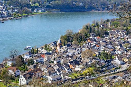 Germany, Erpel, Rhine, River, Green, Town, Panorama