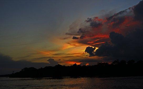 Sunset, River, Black River, Amazon, Brazil, Jungle
