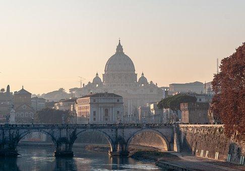 Rome, Sunset, Bridge, Dome, Architecture, City