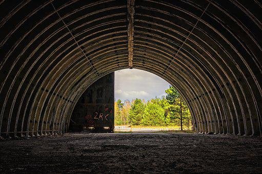 Hangar, Hall, Round Arch, Garage, Aviation