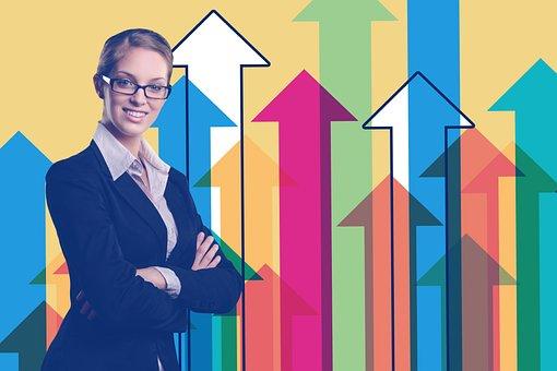 Businesswoman, Statistics, Arrows, Trend, Economy