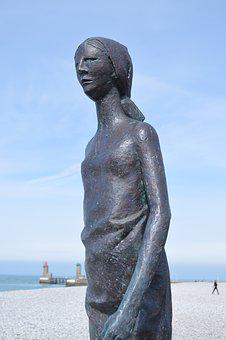 Statue, Bronze, Sculpture, Woman, Face, Fécamp, Beach