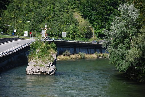 Bath Ischl, River, Stone, Cross, Monument, Water, Road