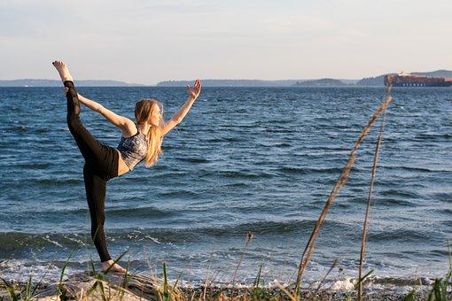 Yoga, Beach, Woman, Ocean, Freedom, Sea, Summer, Water