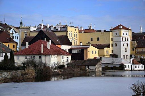 Jindřichův Hradec, Pond, Castle, Winter, Vajgar, Small